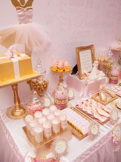 Pretty pink and gold ballerina party.