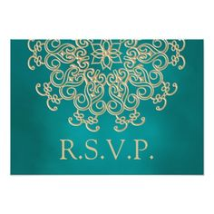 Indian Wedding RSVP TEAL AND GOLD INDIAN RESPONSE RSVP CARD
