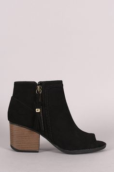 Qupid Suede Tassel Zip Up Block Heeled Ankle Boots