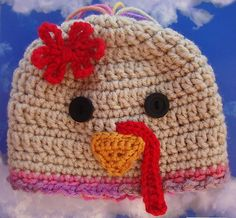 BABY TURKEY HAT Girl 6-12mo crochet knit beanie yarn cap Thanksgiving Fall Gift | eBay