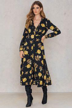 Button Up Maxi Dress Print