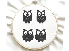 4 Owls Easy Counted Cross Stitch Pattern by GreatHome on Etsy, $4.00