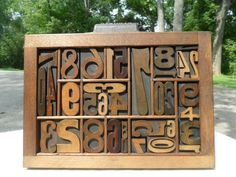 Antique Letterpress Printing Wood Type Numbers Graphic Design Mixed Fonts 34 Pcs
