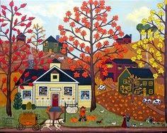 Folk Art Autumn print by Medana Gabbard Art And Illustration, Fine Art Amerika, Henri Rousseau, Farm Art, Autumn Art, Autumn Painting, Country Art, Naive Art, Halloween Art