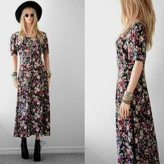 90s Floral Dress 90s Grunge Long Rayon from 2treasurehunt on Etsy