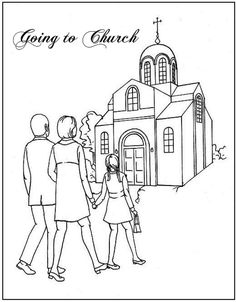 going to church coloring page