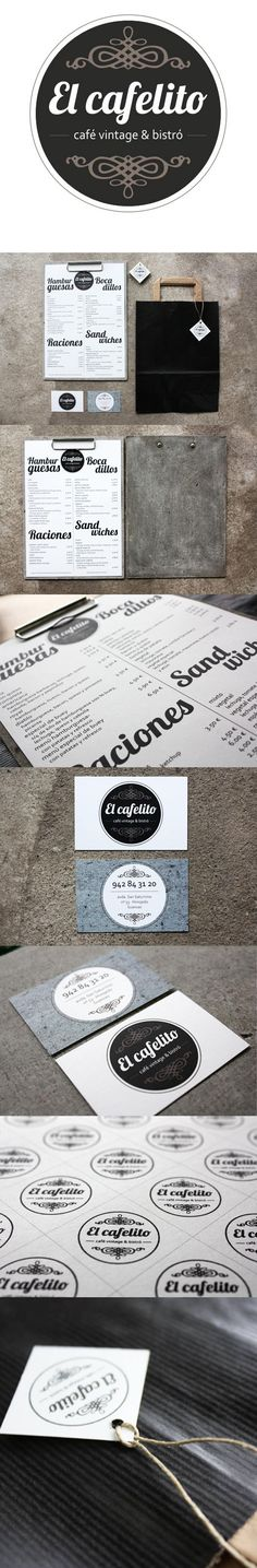 """Nuestro último trabajo de imagen corporativa ha sido un encargo de El cafelito """"Café vintage & bistró"""". Con este nombre era muy difícil no hacer un diseño con estilo retro, teniendo en cuenta el ambiente joven que hay en el local. Hemos creado para ellos el logotipo, tarjeta de visita, la carta y el packaging para el take away. Estamos muy contentas del resultado y les deseamos,a Soraya y Miguel, mucha suerte."""