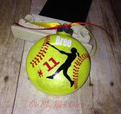 Christmas Vinyl Sports Ornament Glitter by ShabbyChicCreationz