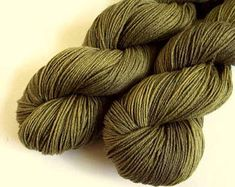 Sale yarn, Sock Yarn, 4 ply Superwash -hand dyed, merino and bamboo wool- 500 meters, olive green colours crochet