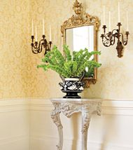 Harvard Damask Wallpaper in Yellow by Thibaut. Available at the DD Building suite 615 #ddbny #thibaut