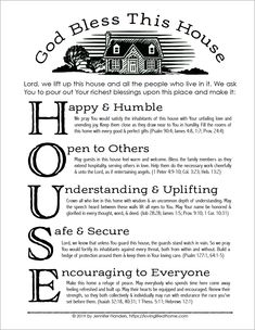 A House Blessing (Free Printable) Advent Scripture, Good Morning God Quotes, New Home Quotes, House Blessing, You Poem, Marriage Prayer, Spiritual Messages, Bible Knowledge, Bullet Journal Ideas Pages
