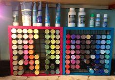Paint bottle storage in my art studio .... Love them !!