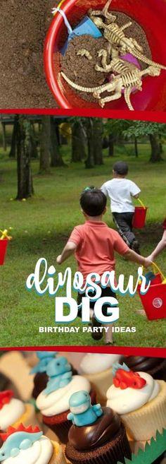 Dinosaur Birthday Party Ideas for Boys - Party Games, Activities, Dinosaur Party Menu and Dinosaur Party Favor Ideas via /spaceshipslb/