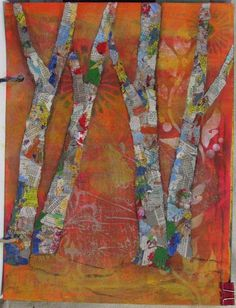torn paper painted collage #technique #tutorial