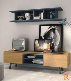Mueble Tv 150 cm. de inspiración nórdica, acabado en chapa de roble natural y laca azul.