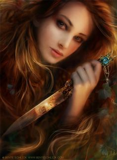 celebratingtheseasons:Art by Bente Schlick  Wild n' free, ready to defend what's most important to the heart…  ~Charlotte (PixieWinksAndFairyWhispers)