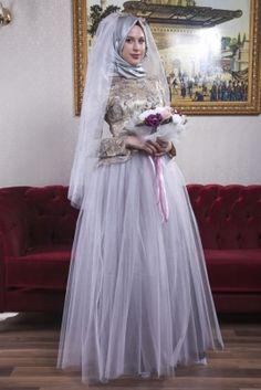 Azra Özer Gümüş Prenses Tesettür Abiye Elbise