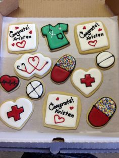 Nursing school graduation cookies.Aunt Mary's Cookies makes custom cupcakes everyday!   We ship all over the USA, call and order your cookie, cakes, cupcakes, and treats today. www.auntmaryscookies.com