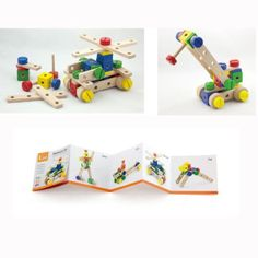 Childrens-Wooden-Tank-Crane-Model-Construction-Building-Set-Wood-Meccano-Kit Wooden Buildings, Wooden Baby Toys, Lego Toys, Brio, Toy Boxes, Wood Blocks, Girl Birthday, Construction, Dani