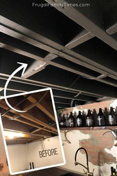 Our Painted Basement Ceiling: The Perfect Black Paint and How We Did it WITHOUT a Sprayer! Black Ceiling Paint, Basement Ceiling Painted, Ceiling Paint Colors, Using A Paint Sprayer, Faux Beams, Brick Paneling, Ceiling Treatments, Hobby Room, Diy House Projects