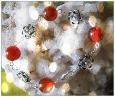 Beautiful Handmade Silver Bracelet with Carnelian & Flowers by IreneDesign2011 on Etsy