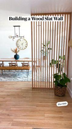 Wood Slat Wall, Wood Slats, Interior Exterior, Home Interior, Interior Design, Home Living Room, Living Room Decor, Home Crafts, Diy Home Decor