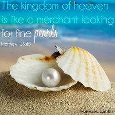"""""""The kingdom of heaven is like a merchant seeking fine pearls, and finding one of great value he sold all he had and bought it. Kingdom Of Heaven, Ocean Life, Disney Love, Disney Magic, The Little Mermaid, Sea Shells, Ravelry, Animals, Wisdom"""