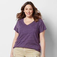 Plus Size SONOMA Goods for Life™ Essential V-Neck Tee, Women's, Size: 3XL, Purple