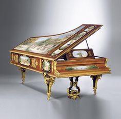 "fawnvelveteen: ""grand piano Royal, ormolu monté, laiton marqueterie, peinture, acajou, Henry Dasson (1825-1896)"""