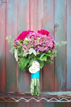 Pink and teal bouquet