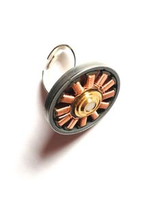 Electronic laptop motor copper spinning ring, adjustable silver ring, steampunk, geek jewellery by Cyclopaedia, £14.90