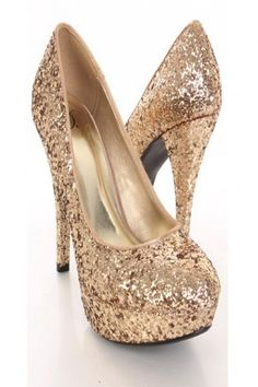 Gold Glittery Closed Toe Platform Pump Heels / Sexy Clubwear | Party Dresses | Sexy Shoes | Womens Shoes and Clothing | AMI CLubwear #partydressesclubwear