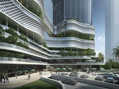 Gallery of GroupGSA Designs a Double Helix-Inspired Building for iCarbonX Headquarters in China - 9 Condominium Architecture, Architecture Visualization, Futuristic Architecture, Facade Architecture, Commercial Architecture, Classical Architecture, Mix Use Building, High Rise Building, Pavillion Design
