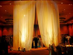 draping + lights /// #eventuresinc #drapes #lighting #branches
