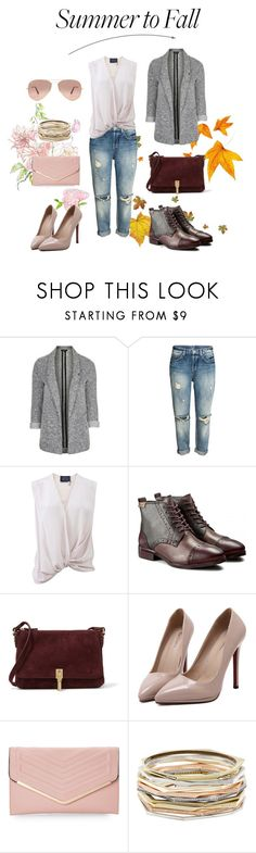 """""""From Summer to Fall Boyfriend Jeans"""" by loewenangel ❤ liked on Polyvore featuring Topshop, Lanvin, Pikolinos, Elizabeth and James, WithChic, Sasha, Kendra Scott, Ray-Ban and summertofall"""