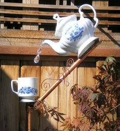 Bird Feeder, Ceramic Tea Pot and Cup Bird Feeder, Handmade Functional Garden/Yard Art
