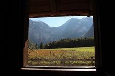 4 Freizeiten Königssee Alm Ausblick durch Fenster auf Berge