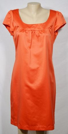METROSTYLE Orange Cap Sleeve Shift Dress 12 Unlined Cocktail Party Vacation #Metrostyle #Shift #Cocktail
