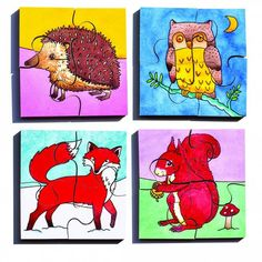 Set of 4 illustrated puzzles, each with 4 pieces. Puzzle size 10 x Teaching Kids, Teaching Resources, Eyfs, Puzzles, Rooster, Moose Art, British Schools, Wildlife, Size 10