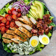 Crab And Shrimp Seafood Cobb Salad Foodiecrush Com. DIY Disney Recipe: Cobb Salad From The Hollywood Brown Derby. Green Goddess Cobb Salad Veggies By Candlelight. Salad Recipes, Keto Recipes, Cooking Recipes, Healthy Recipes, Ensalada Cobb, Cobb Salad, Healthy Salads, Healthy Eating, Comida Keto