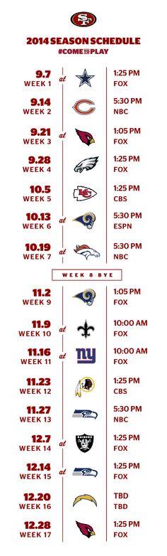 San Francisco 49ers 2014 Schedule Released-Yeah Baby!!!❤️❤️