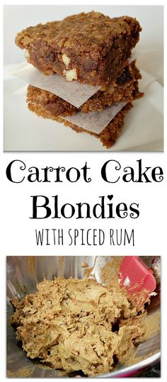 Carrot Cake Blondies with Spiced Rum - Great for an Easter treat or for an every day treat!