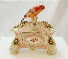 Meissen Porcelain Jewelry Box with Parrot Motif