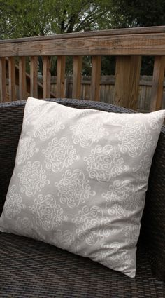 Gray damask throw pillow