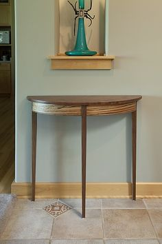 Walnut Demilune by Tom Dumke (Wood Hall Table) Williams Furniture, Mortise And Tenon, Wood Construction, Joinery, Wood Art, Solid Wood, Entryway Tables, Art Pieces, Woodworking