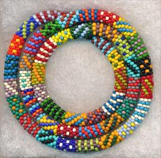 Collage Bead Crochet Necklace