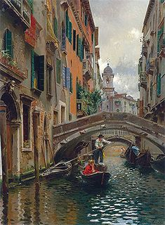 Title: A Quiet Canal, Venice, undated  Artist: Rubens Santoro  Medium: Canvas Art Print - Giclee