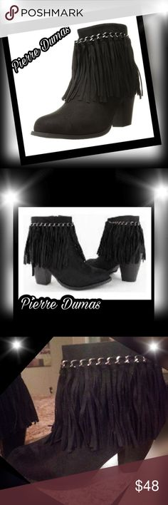 Pierre Dumas Black Fringe ankle boots Worn once , then stored away still very good condition Gorgeous faux suede Black boot combines city fashion with a western flair. It features an approximately 3-inch heel, chain accents, fringe and side zippers for easy on-off.  It is a must have for any fashion lover! **Box was throw away by mistake but they have been wrapped and stored in container. Pierre Dumas Shoes Ankle Boots & Booties
