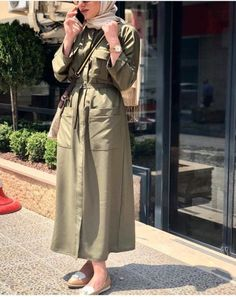 Olive cardigan jacket hijab style-The most trending hijab items – Just Trendy Girls