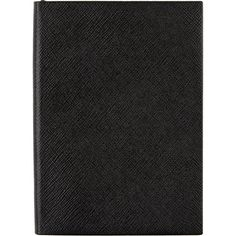 Smythson Panama Manuscript Notebook (1,785 HKD) ❤ liked on Polyvore featuring home, home decor, stationery, accessories, stationary, black and filler
